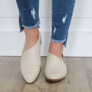 Shoes - The Swift Beige Snake Open Shank Ballet Flat